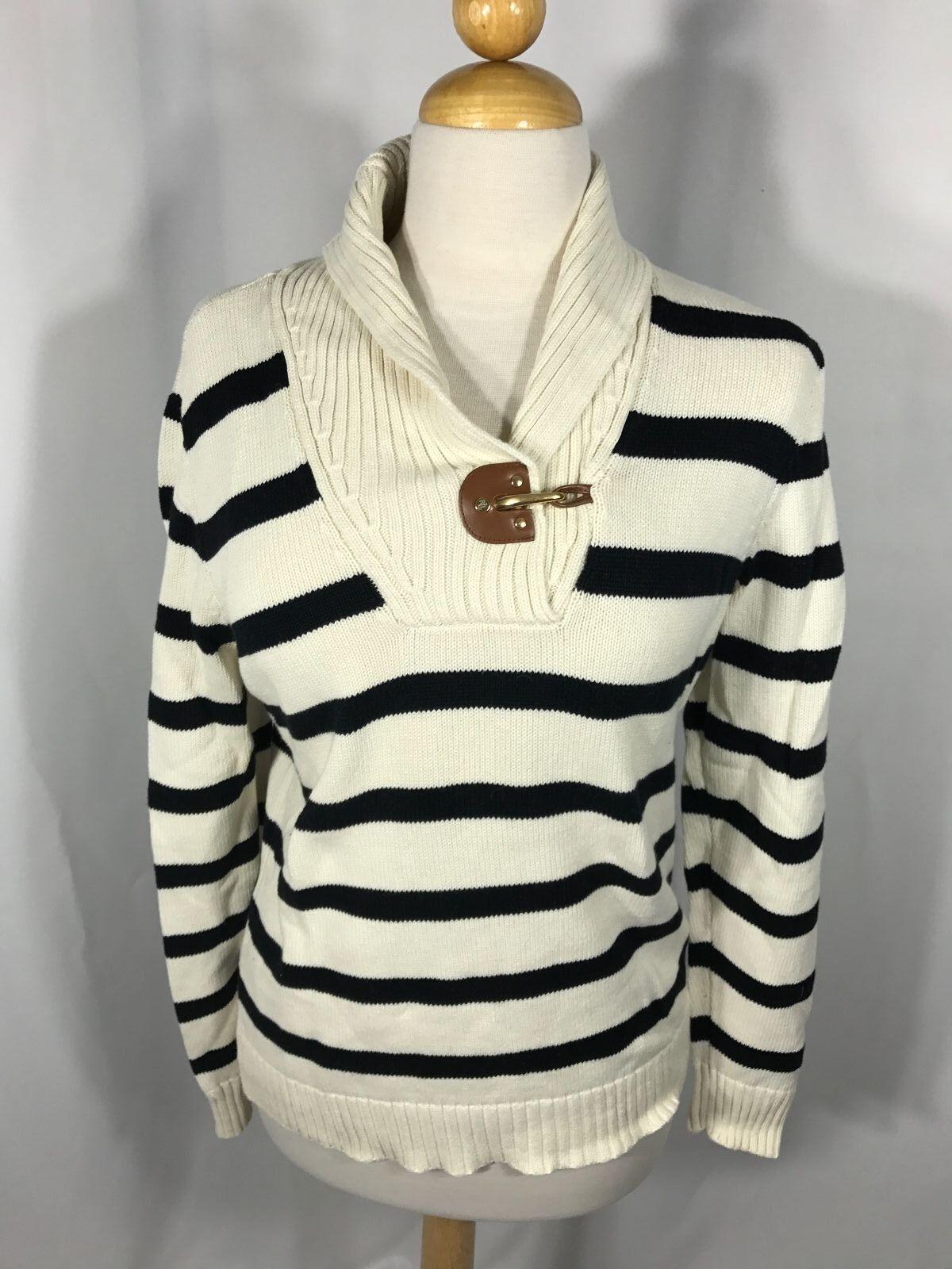 Ralph Lauren Women's White bluee Striped Sweater leather Trim L
