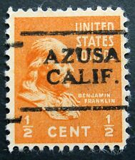 Sc # 803 ~ 1/2 cent Ben Franklin Issue, Precancel, AZUSA CALIF.