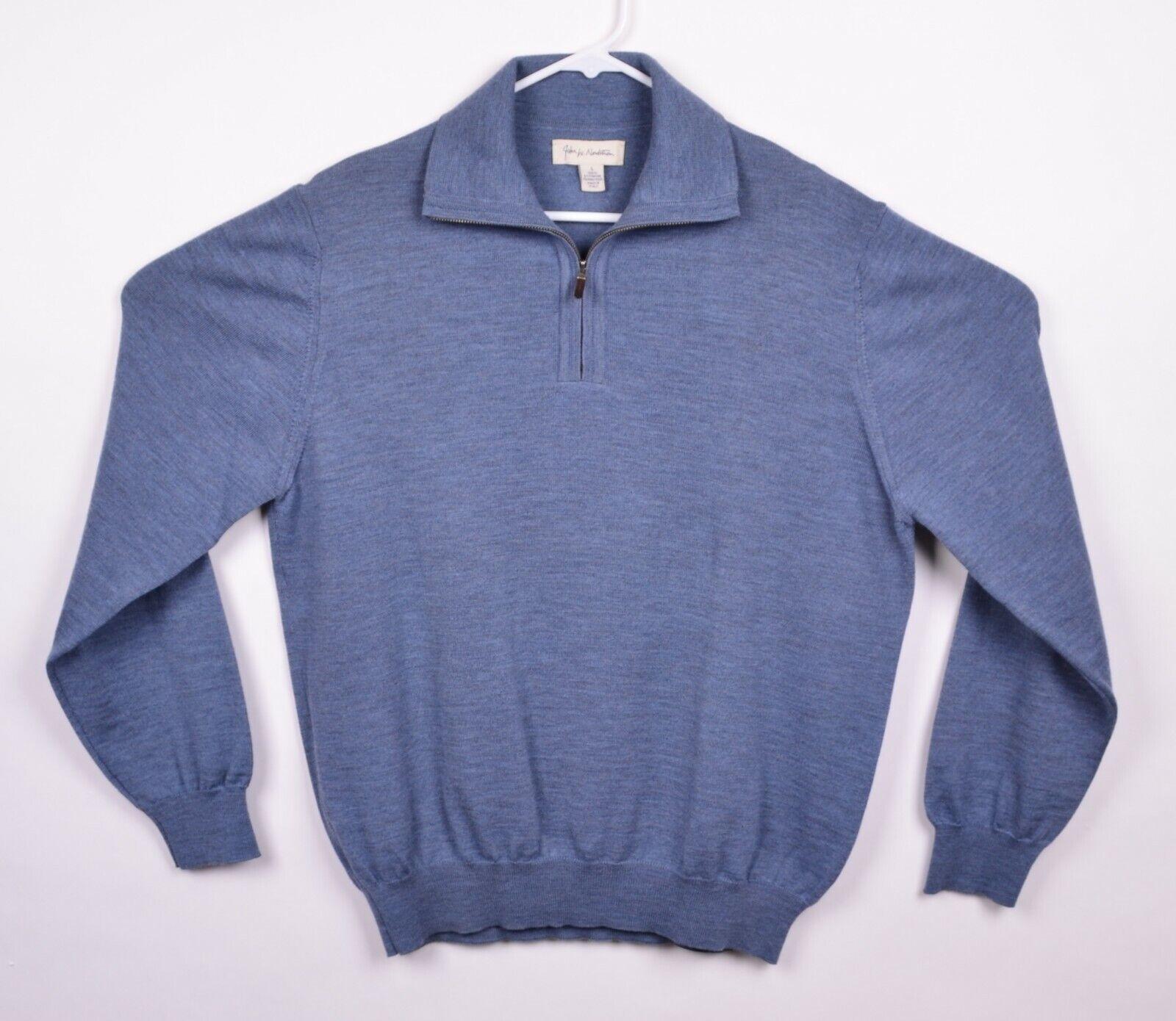 John W. Nordstrom Men's Sz Large 100% Merino Wool 1 4 Zip bluee Italian Sweater