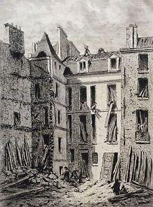 100% De Qualité Alfred Alexandre Delauney Paris 1866 Pointe Sèche Destruction Collège De La Ma? Frissons Et Douleurs