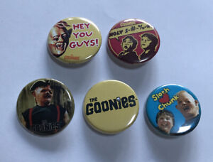 The Goonies pin Lot of 5 1.25 inch Sloth, Chunk, Data, Mikey