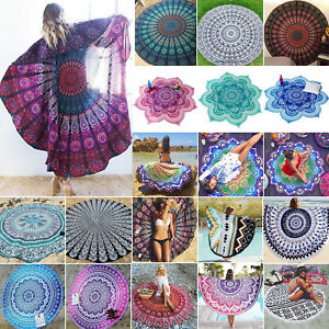 Round Feather Beach Towel 150cm with Tassel Towel,Wrap Sarong Picnic Blanket Throw Rug Fabric Tapestry Boho Gypsy Yoga Mat Cover Picnic Scarf Towels Home & Kitchen
