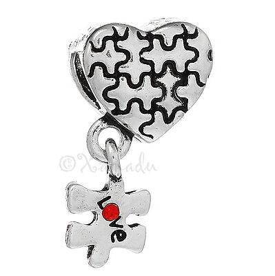Autism Awareness Puzzle Ribbon European Charm For Large Hole Charm Bracelets