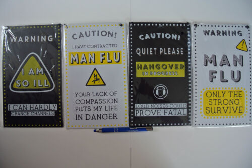 4 Funny Styles Fathers Day Gift Humourous Man Flu Metal Tin Wall Plaques