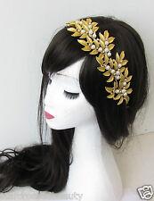 Gold Leaf Headdress Headpiece Hair Vine Grecian Bridal 1920s Vtg Pearl Clip R07