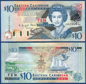 East Caribbean States / St 2003 Lucia 10 Dollars Unc P 43l Strong Packing