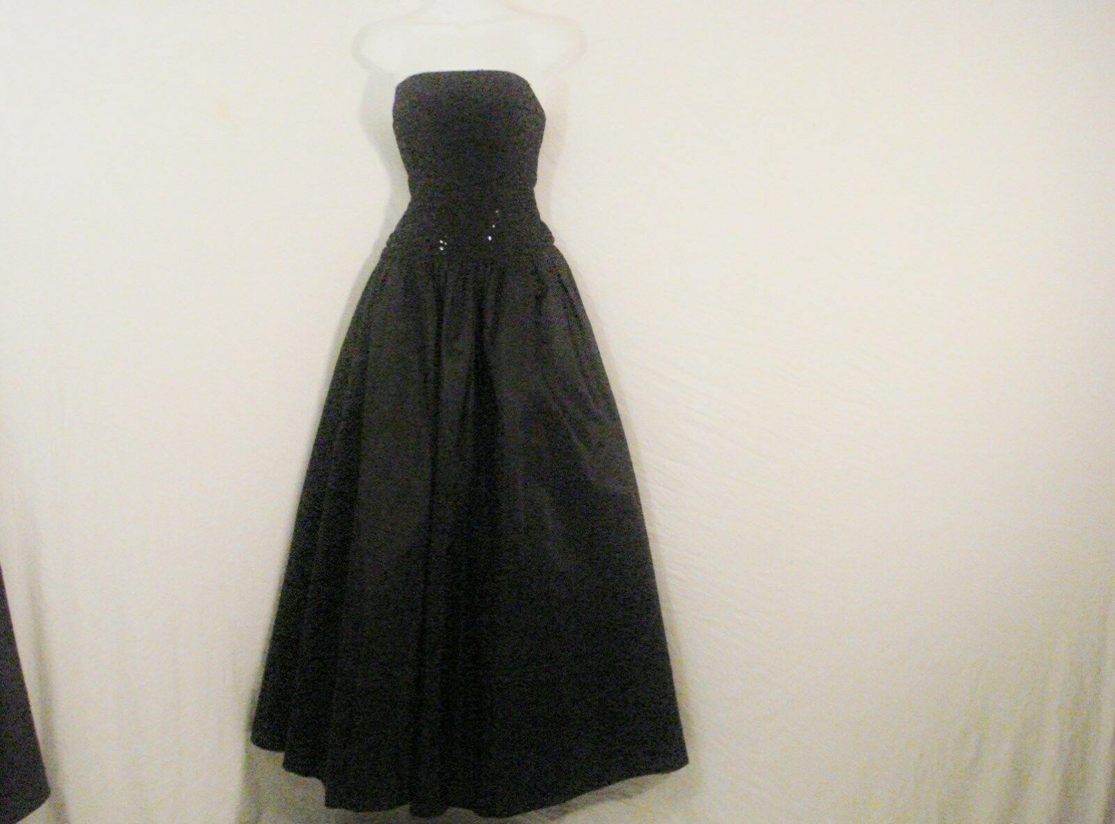 Alfred Angelo Black Formal Taffeta Dress Sequin Top Sophisticated Chic SM