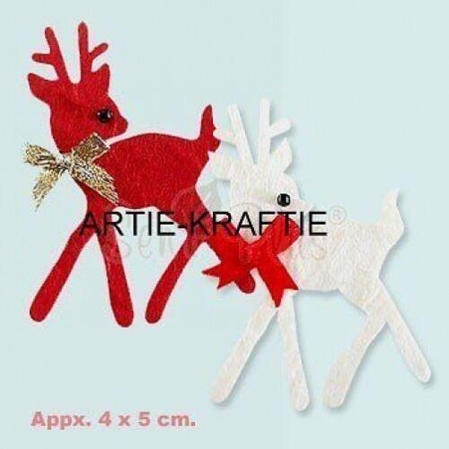 4 rouge /& blanc renne die cuts pour cartes//artisanat