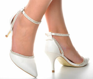 57b49d17f37 White Diamante Pointed Toe Leather Look Wedding Heels Sandals Bridal ...