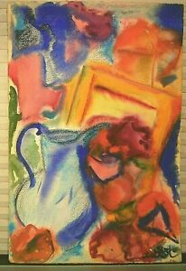 MID-CENTURY-ABSTRACT-EXPRESSIONIST-WATERCOLOR-SIGNED