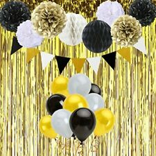 Black And Gold Birthday Decorations With Banner Tissue Paper Pom Poms Honeycomb