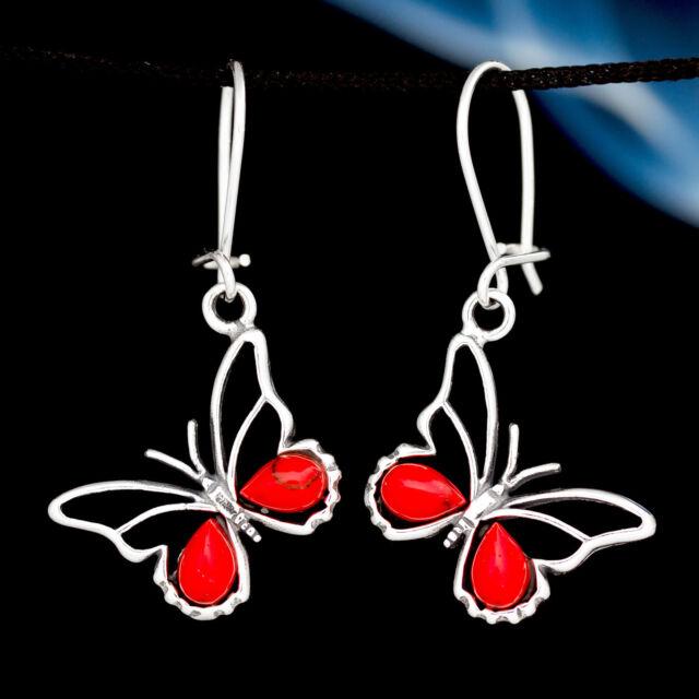 Koralle Silber 925 Ohrringe Damen Schmuck Sterlingsilber H356