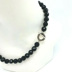 David Sigal 925 Sterling Silver Black Onyx Beaded Necklace