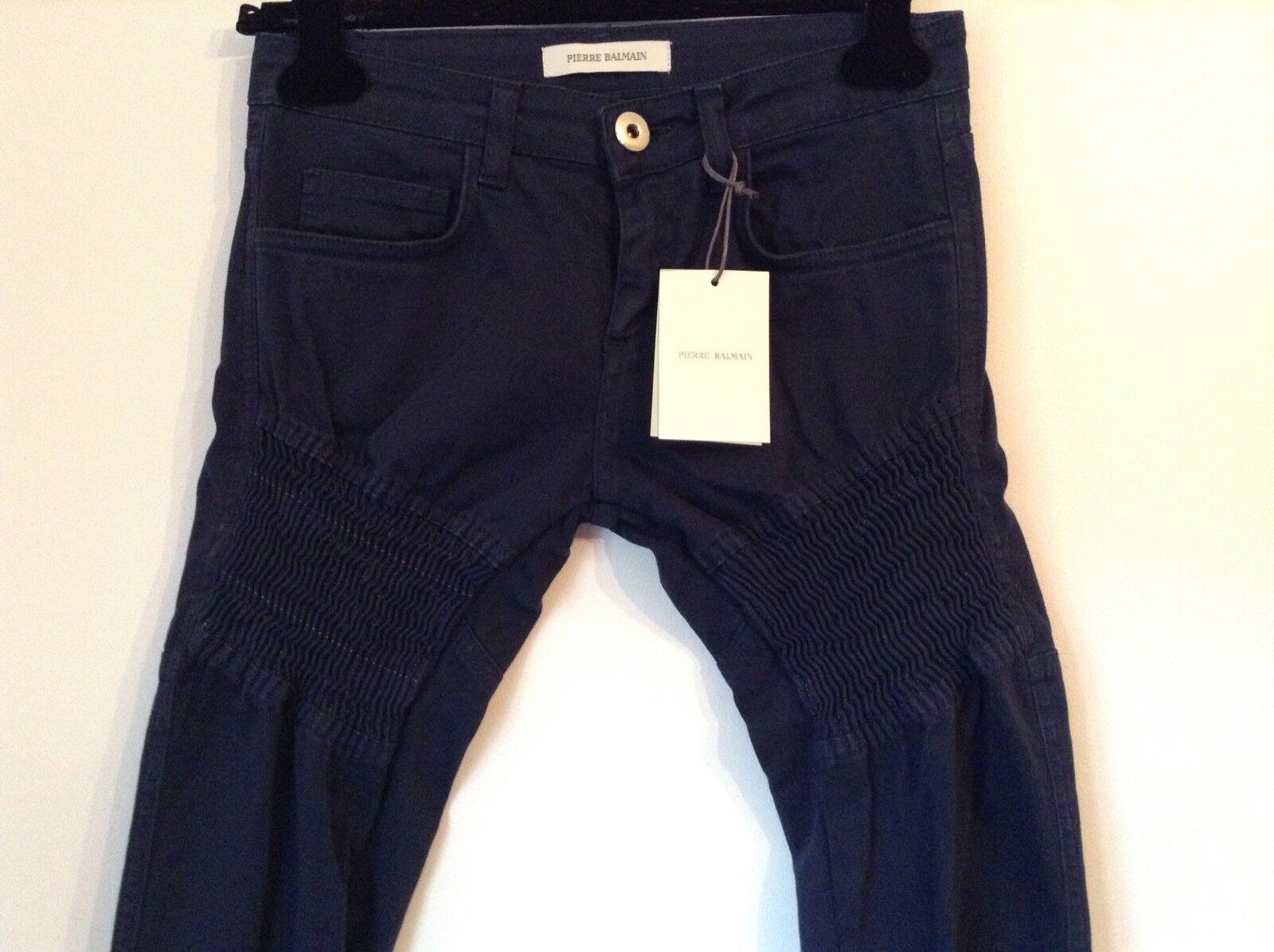 BNWT 100% auth BALMAIN Ladies Blau Slim Fit Biker Jeans. 28   UK 10