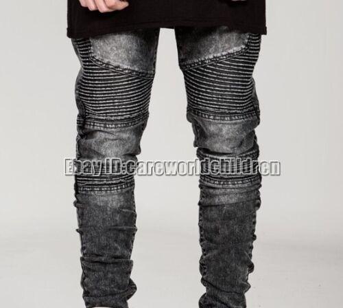 Fashion Classic Men/'s Slim Fit Skinny Biker Jeans Straight Trousers Casual Pants