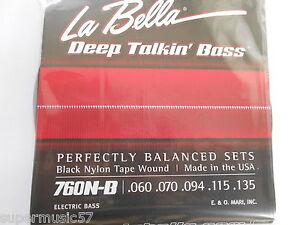 la bella 760n b black nylon tape wound 5 string bass guitar strings 60 135 656295043101 ebay. Black Bedroom Furniture Sets. Home Design Ideas