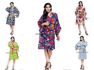Indian-Floral-Printed-Cotton-Night-Gown-Women-Bath-Robe-Kimono-New-Sleepwear