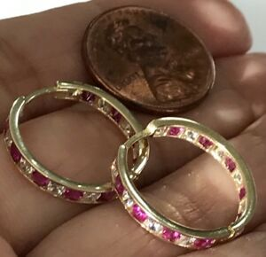GOLD-Hoop-huggie-earring-14k-Yellow-Simulated-Diamond-Ruby-20mm-2-2g