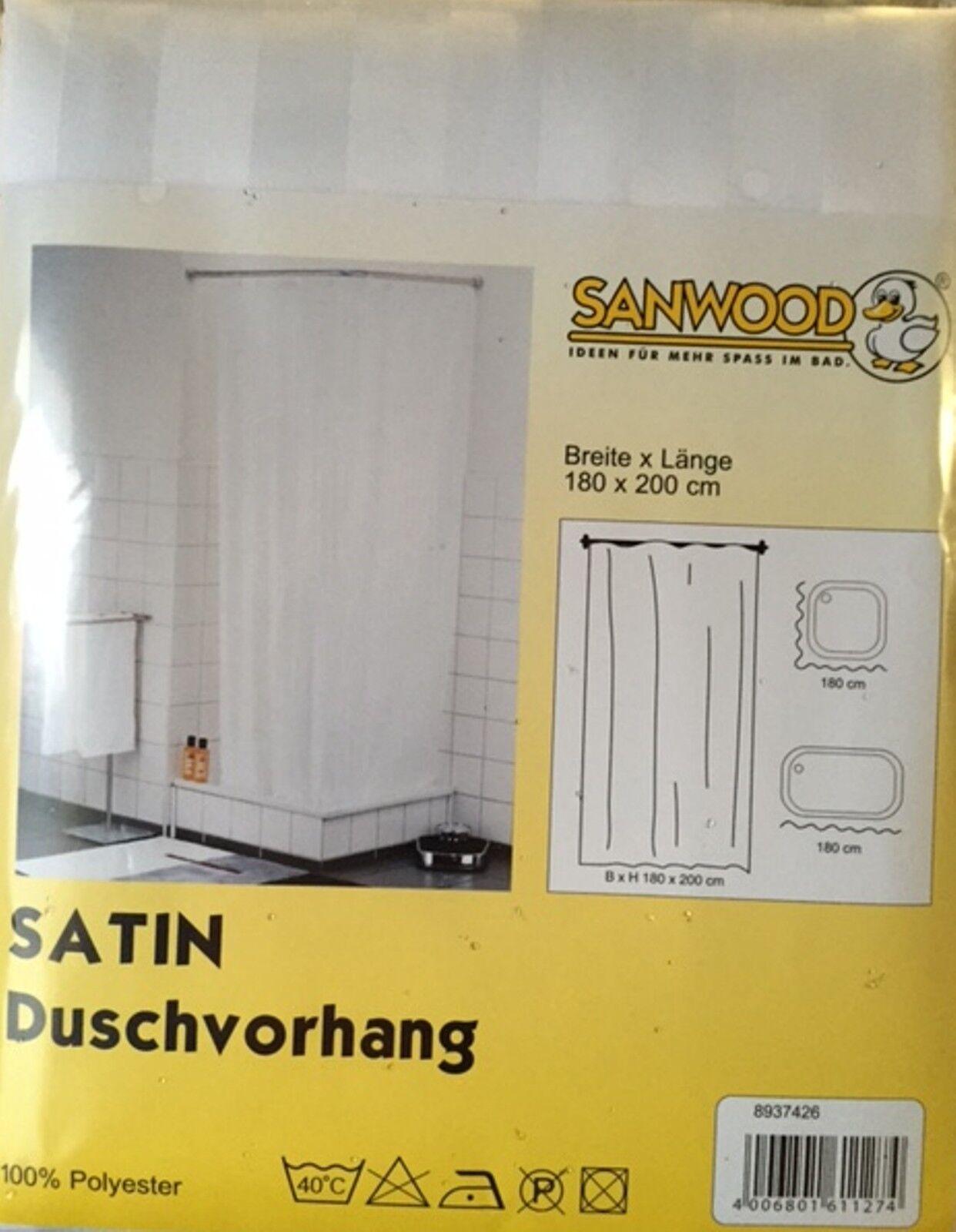 Duschvorhang SANWOOD SATIN 200 x 180 cm cm cm weiß NEU & OVP 957899