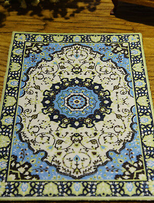 1:12 Beautiful Miniature Persian Design Dollhouse Yellow Blue Rug
