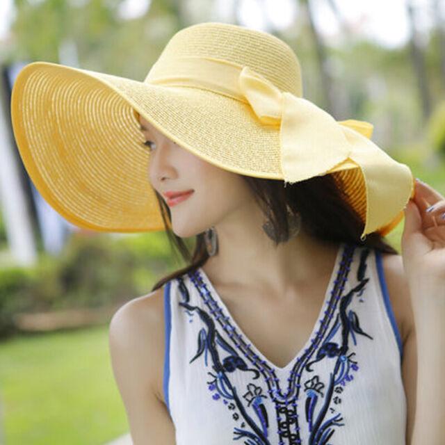 Sommer Frauen Mädchen Sun Beach Strohhut Floppy Faltbare Wide Brim Gardenin D9V0