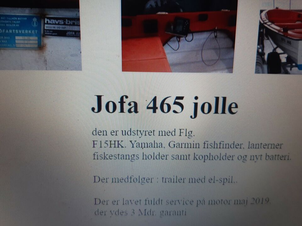 Jofa 465 jolle, Motorbåd, 15 hk