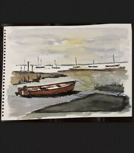 ORIGINAL-SIGNED-WATERCOLOUR-PAINTING-COAST-BOATS-MARITIME-COASTAL-SCENE-SEASCAPE