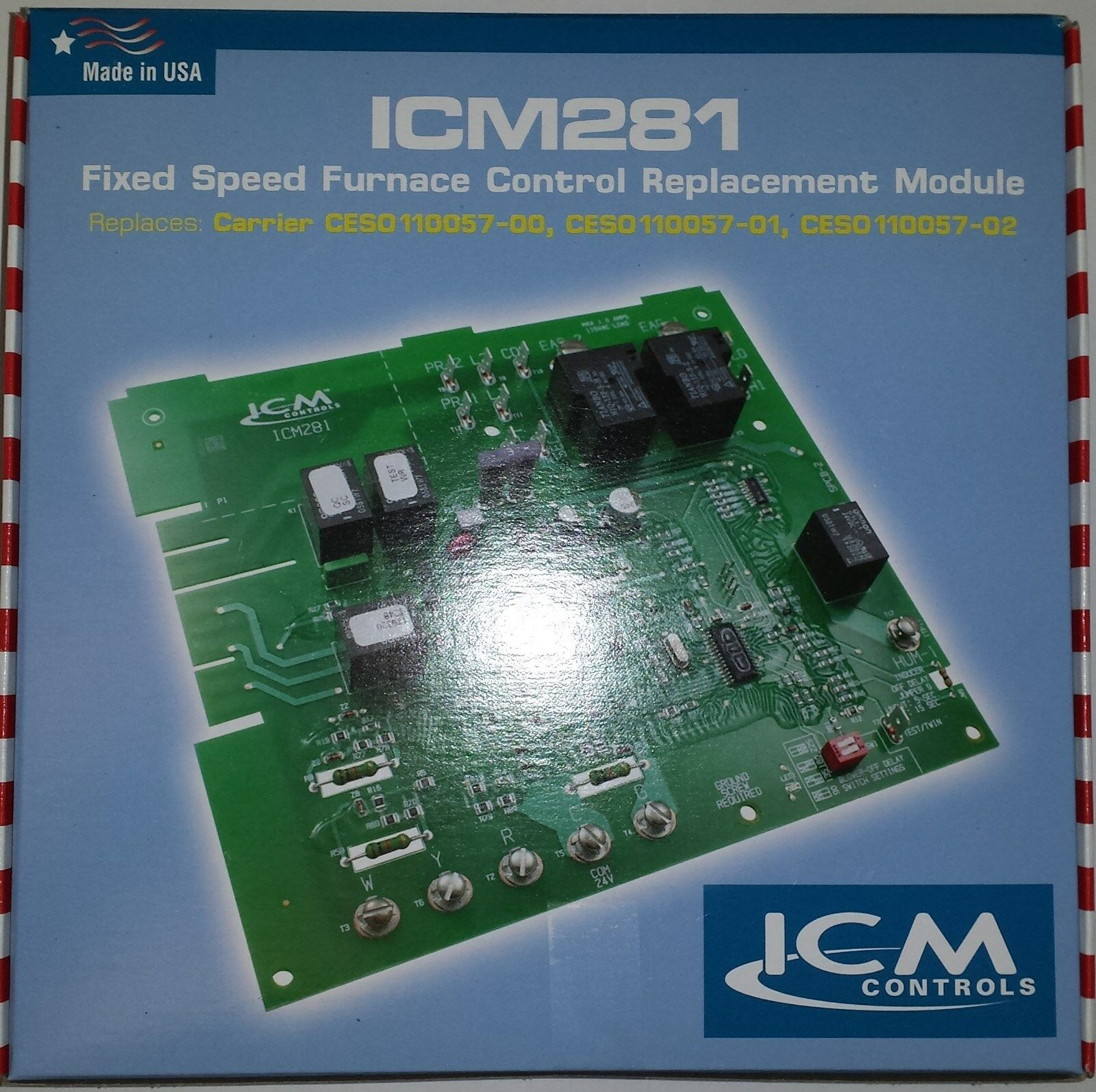 Icm Controls Icm281 Carrier Bryant Furnace Control Board Ces0110057 Circuit Replacement Household Boards 00 01 02 Ebay