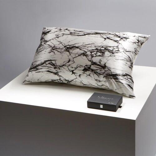 Blissy  Silk Queen Pillowcase Light Marble Zip Black White