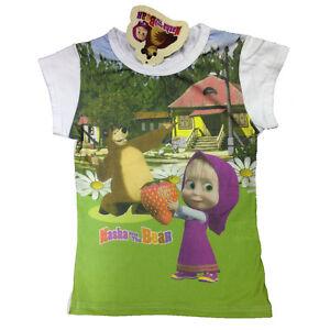 Maglietta-T-shirt-MASHA-E-ORSO-in-cotone-bianco-stampato-varie-taglie-da-bambino