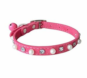 FUNPET Soft Velvet Bling Cat Collar with Bell and Pearl 8-10.6 Inch New
