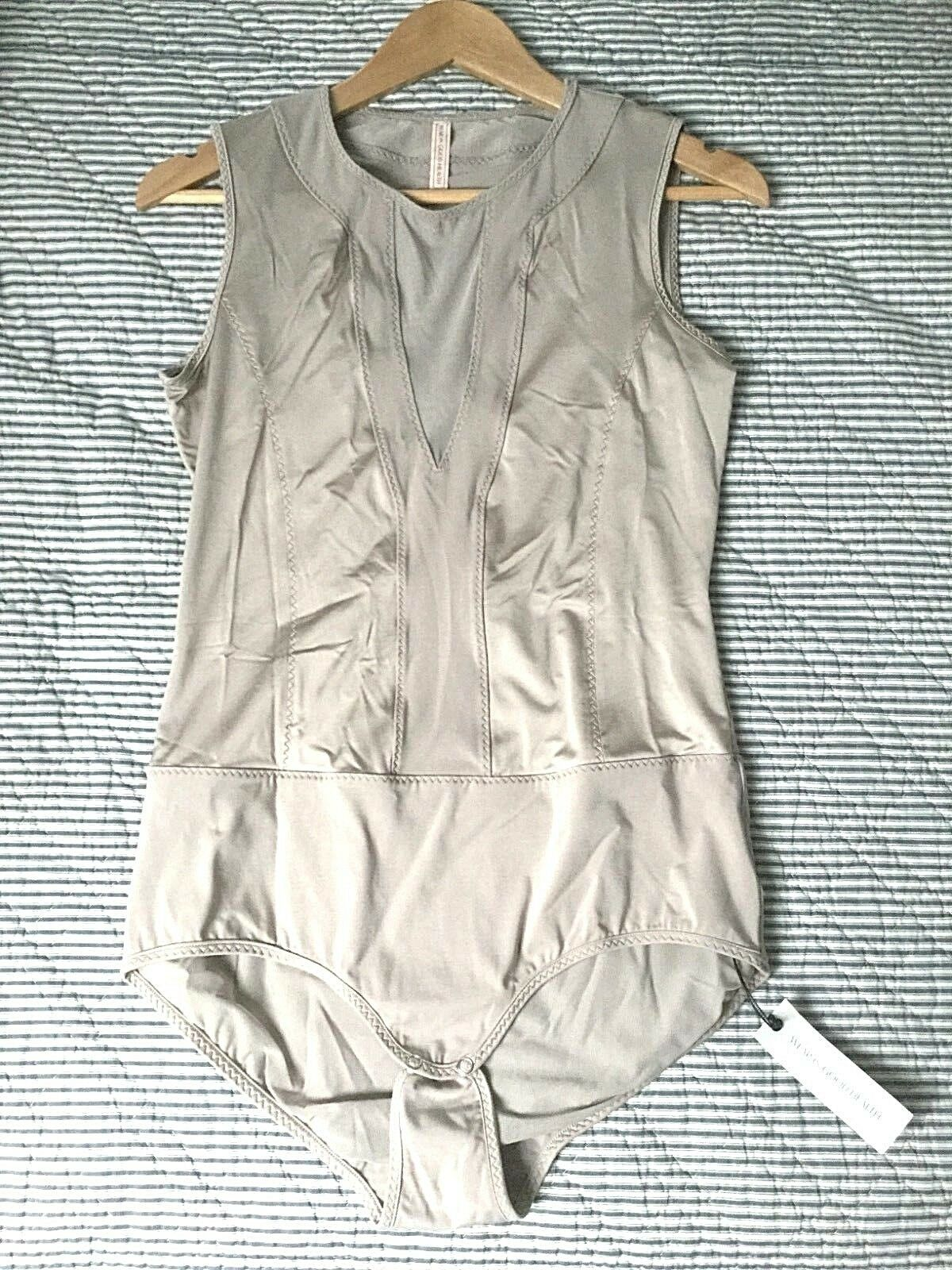 NWT WEAR IN GOOD HEALTH damen sz L ETHEREA Taupe Bodysuit Sexy Italian Mesh