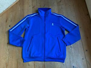 Trainingsjacke-von-Adidas-blau-Waffelpiquet-Baumwolle-Sweat-70er-vintage-L