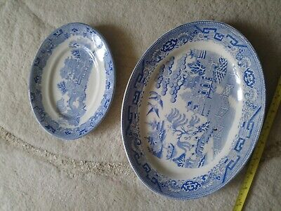 Larger By Hollinshead And Kirkham To Prevent And Cure Diseases Willow Pattern Two Blue And White Willow Pattern Plates
