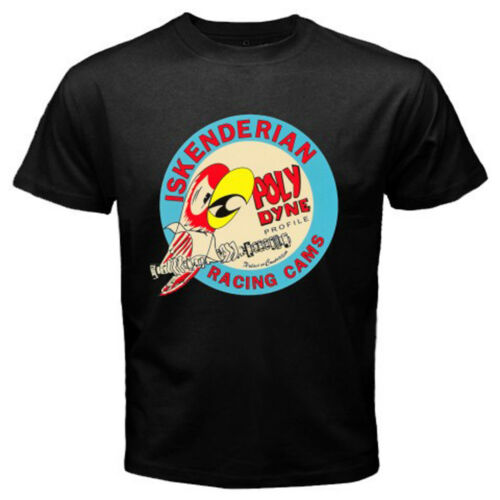 Nouveau Iskenderian Poly Dyne Racing Cams Logo Hommes T-Shirt Noir Taille S-3XL