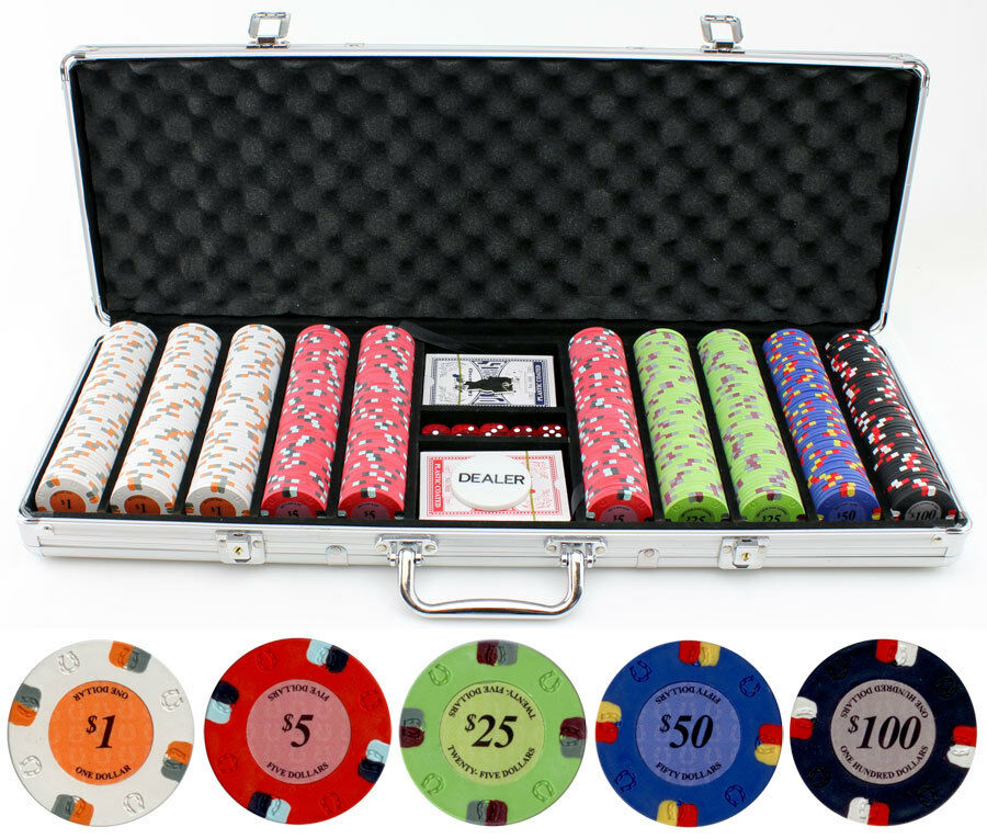 Texas Hold/'Em Dice Poker Chip Set 500 Count 11.5 With Aluminum Case Table Felt