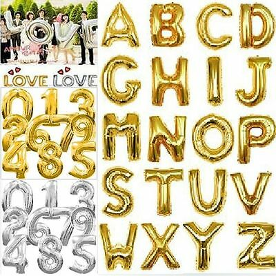 "16"" Letter&Number Foil Balloons Party Birthday Wedding Decoration Silver & Gold"