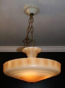 Details About Antique Caramel Beige Gl Art Deco Light Fixture Ceiling Chandelier 1940s