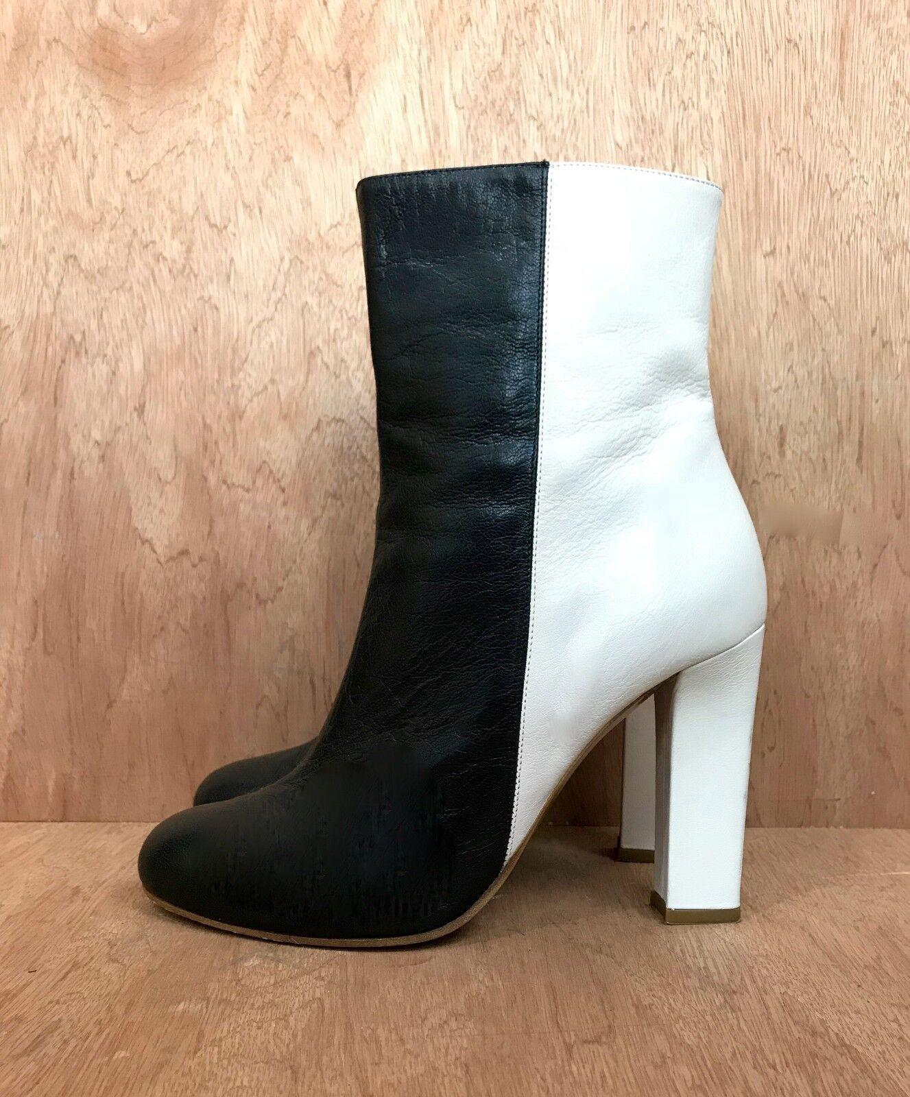 Missoni boots black white leather color block EU Sz41 11 booties zip high heel