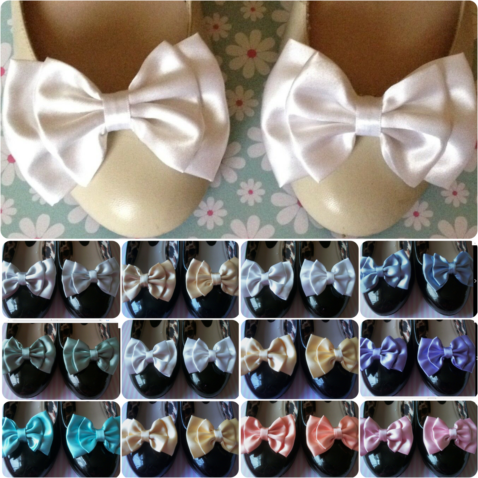 PAIR PALE SATIN BOW SHOE CLIPS VINTAGE STYLE GLAMOUR 40s 50s BRIDAL PROM PARTY