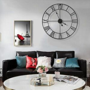 40CM-LARGE-ROMAN-NUMERALS-SKELETON-WALL-CLOCK-BIG-GIANT-OPEN-FACE-ROUND