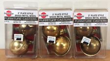 Set 6 Faultless 2 Plate Style Shiny Brass Metal Furniture Ball Wheel Casters