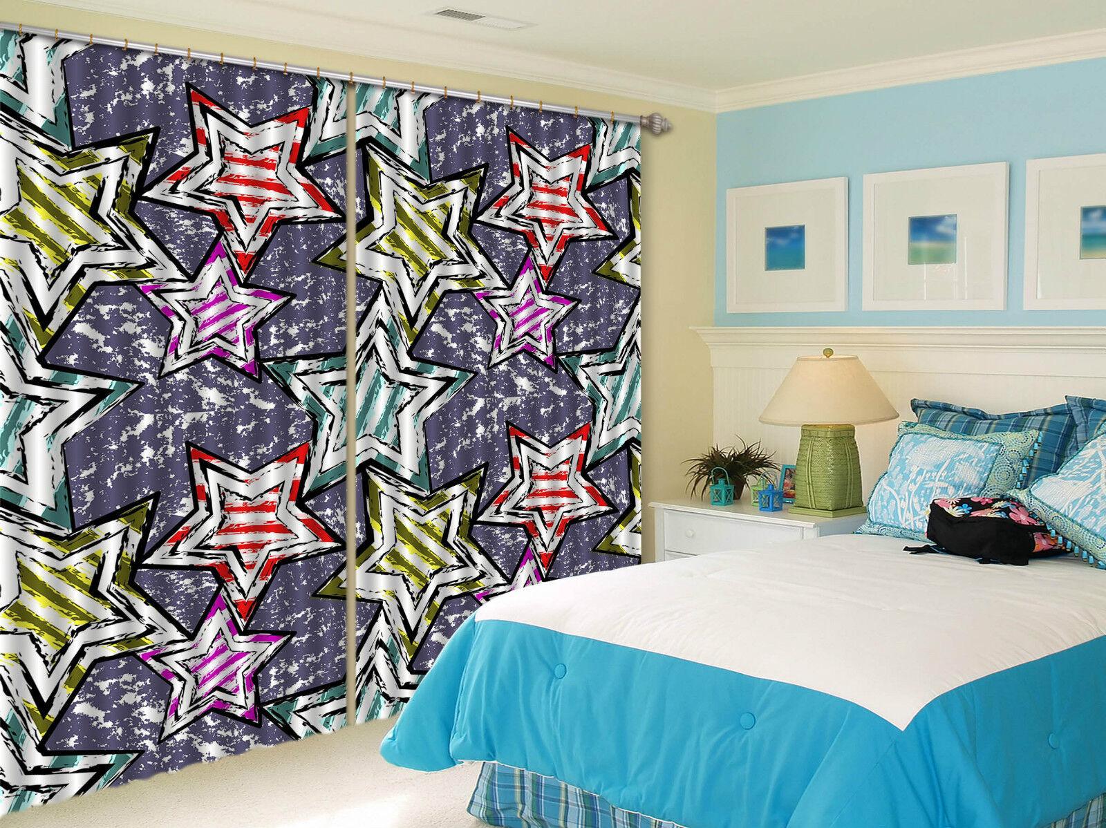 3d estrella patrón 131 bloqueo foto cortina cortina de impresión sustancia cortinas de ventana