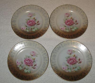 "Antique/Vintage Set 4 German Altenburg Hand Painted China Plates Red Roses - 6"""
