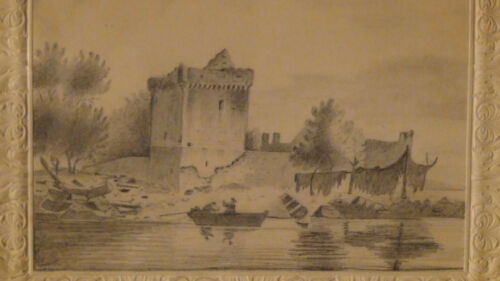 "ANTIQUE OLD MASTER DRAWING ""BOAT ON WATER NEAR A CASTLE""ORIGINAL GILT FRAME"