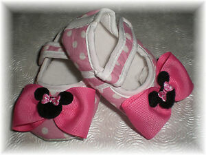 522a3224b0eb0 Details about Pink Minnie Mouse Inspired Polka Dot Baby Girl Crib Shoes...3  Sizes