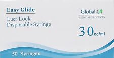 5 Pack Easy Glide 30cc30 Ml Luer Lock Syringes 30ml Sterile Syringe No Needle