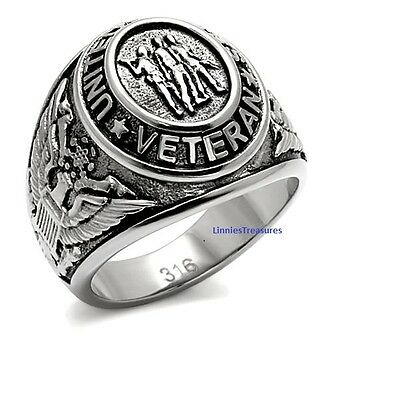 US Veterans Military Ring 316L Stainless Steel Antique Silver Signet Style