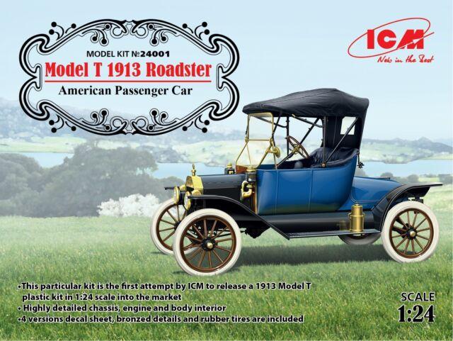 Icm 1/24 Modello T 1913 Roadster Americano Passenger Auto #24001