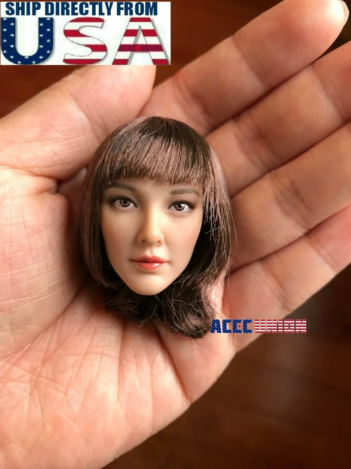 1 6 Female Head Sculpt Short Brown Hair A For 12  PHICEN Hot Toys Figure USA